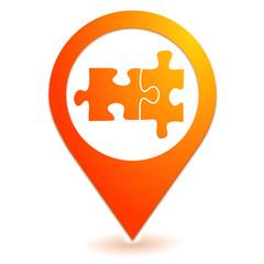 puzzle sur symbole localisation orange