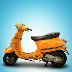 Yellow retro scooter on a blue background