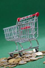 coins under shopping basket