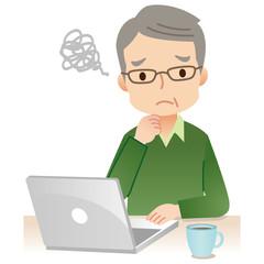 パソコンを使う男性 高齢者
