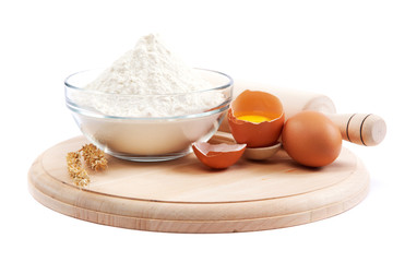 Flour, eggs, pasta, baking ingredients for cooking.