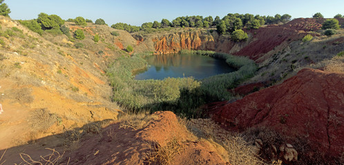 Bauxite Mine with Lake at   Otranto   Italy