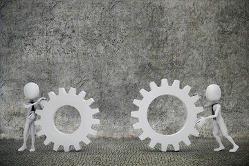 3d man- businessmen  pushing  two gear wheels