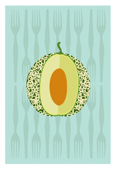 Vector of cantaloupe on green background