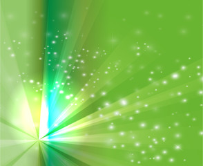 Abstract rays burst light on green background