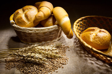 Wheat, corn and bread