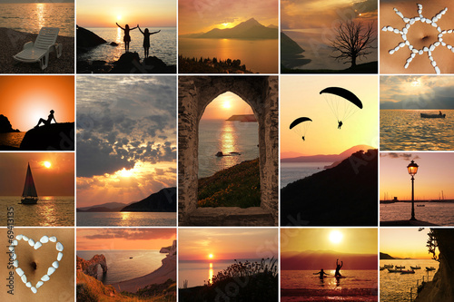 canvas print picture Collage - Sommernacht am Meer