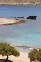 Shipwreck at Imeri Gramvousa Bay. Crete. Greece