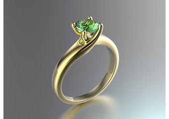 Engagement Ring with peridot. Jewelry background