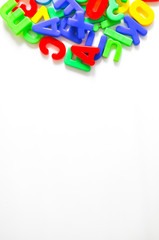 Magnetic letters on white background