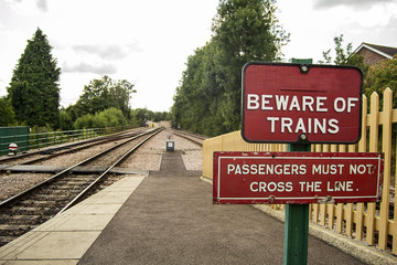 Warning sign on train station