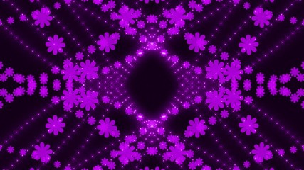 purple light and particle flowers, loop