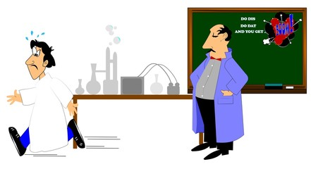 man in lab coat with student