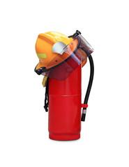 helmet and extinguisher