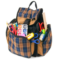 School backpack and school tools.