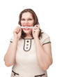Angry plus size woman gnawing centimeter