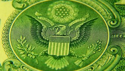 One Dollar paper money macro.