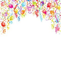 Streamer, Confetti & Balloons Color Background