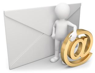 3d Männchen mit Briefumschlag und Emailsymbol