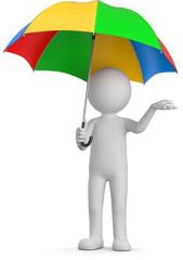 Männchen mit farbgen regenschirm
