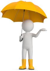 Männchen mit gelben Regenschirm