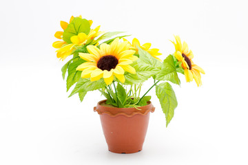 plastic  sunflower isolated on white background