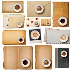 vecchie buste e pagine collage con tazzine di caffè