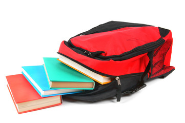 School backpack and books.