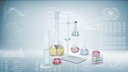 Chemical laboratory equipment. Flasks and test tubes