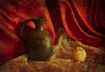Still life with a jug and Pears in the old  style