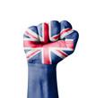 Fist of United Kingdom (UK) flag painted
