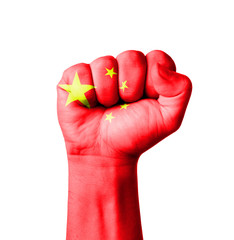 Fist of China flag painted