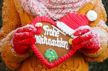 """Lebkuchenherz """"Frohe Weihnachten!"""""""