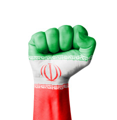 Fist of Iran flag painted