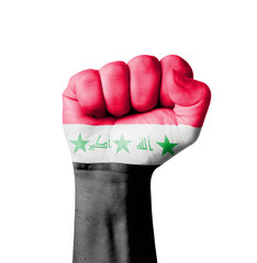 Fist of Iraq flag painted