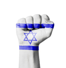 Fist of Israel flag painted