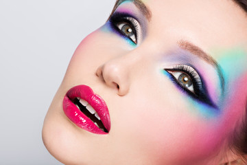 Beautiful woman with fashion bright makeup