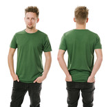 Man posing with blank green shirt