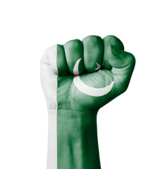 Fist of Pakistan flag painted