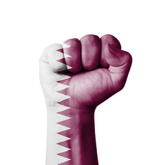 Fist of Qatar flag painted