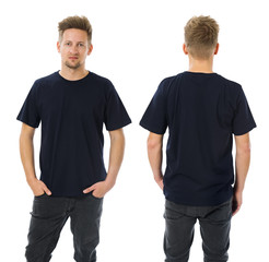 Man posing with blank dark blue shirt