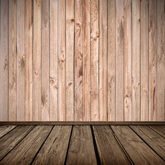 Wooden plank wall and floor interior background