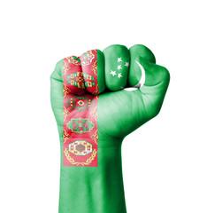 Fist of Turkmenistan flag painted