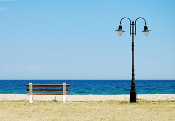 Lantern And Bench At Seaside
