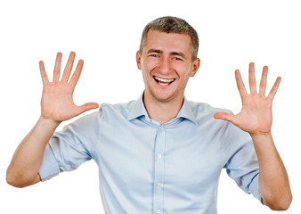 Portrait of happy smiling man showing ten fingers
