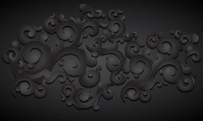 Floral ornament, black pattern.