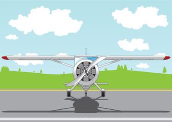 cartoon airplane on airfield