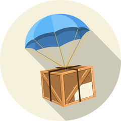 Vector  Parachute with Wooden Box