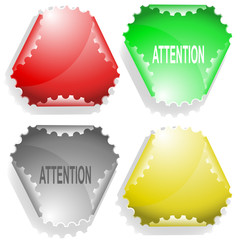 Attention. Vector sticker.