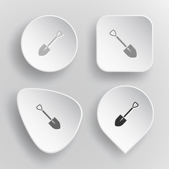 Spade. White flat vector buttons on gray background.